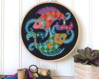 Pisces - zodiac sign - Satsuma Street modern cross stitch pattern PDF - Instant download