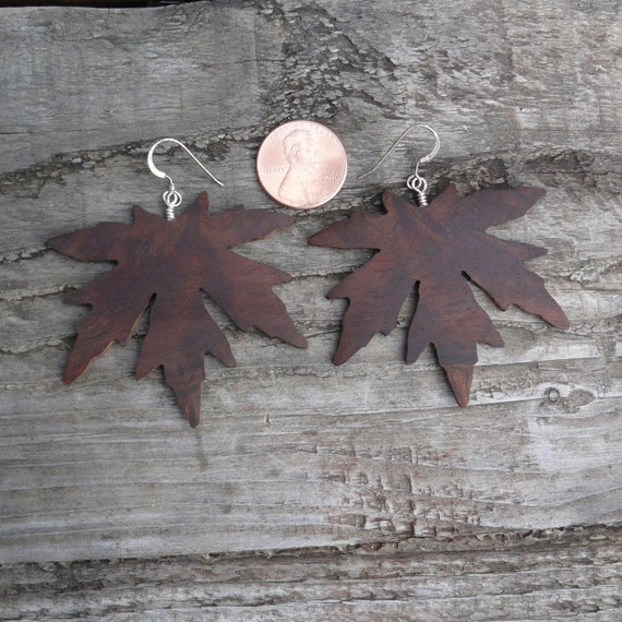 Oversized big earrings, Large Leaf Earrings, Dangle drop leaf Big earrings, Boho wood jewelry, Japanese Maple earrings, Hippie Nature Lover