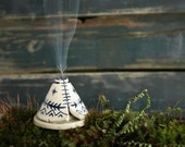 Incense Burner TeePee that smokes, Ceramic Navy Blue and White, Native American Aztec Design, Stoneware Clay Pottery, Unique Yogi Gift