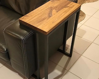 Handmade Side Table - Brazilian Pine and Steel - Accent Table