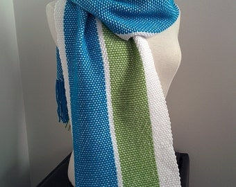 Handmade woven scarf 3 colors: blue, green and white