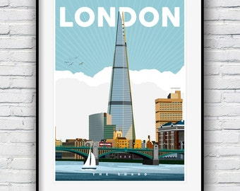 London Print, London Skyline, Travel Poster, City Prints, London Art, Cityscape, Great Britain, Wall art, City Art, The Shard, Skyline Art