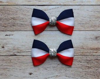 "SALE! mini 2.5"" red white and blue pigtail hair bow July 4th, military, Veterans Day, Flag Day, cruise piggies"