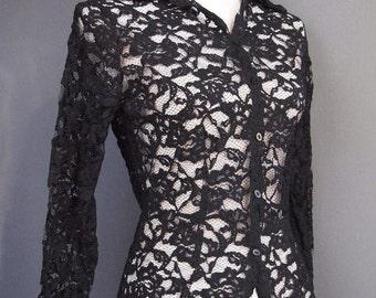 Black lacy blouse - vintage shirt - black blouse - retro - goth - vamp - steampunk - black lace shirt - button down shirt - vintage blouse