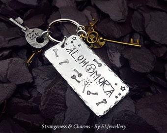 Hand Stamped 'Alohomora' Aluminium Keyring, Stamped Keychain, Potter, Unlocking Spell, Keys, Spells, Magic Spells,Stamped Metal Jewellery.