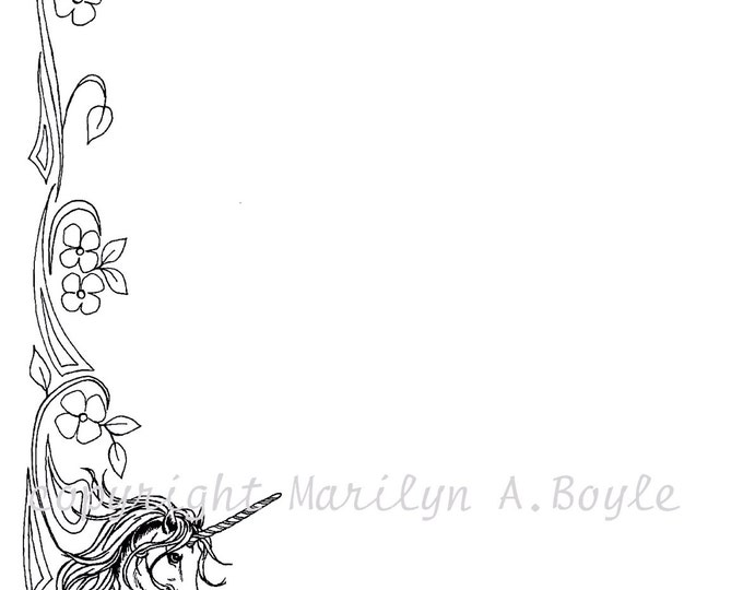 DIGITAL Download- UNICORN BORDER;prancing, fantasy,from original ink drawing,for poems, quotes, wishes, for coloring, for certificate frame,