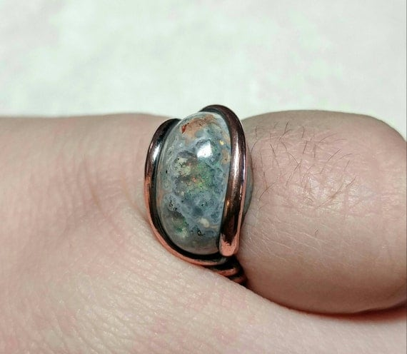 Opal Gift Ring | Matrix Opal Ring | Copper Ring Sz 6.75  | Boulder Opal Ring | Fire Opal Ring | Cantera Opal Ring | Mexican Opal Jewelry