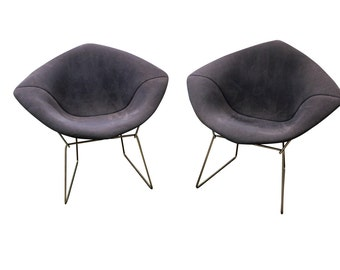 Mid Century Modern Lounge Chairs Harry Bertoia Knoll Danish Modern Chairs Chrome Diamond Chairs-A Pair
