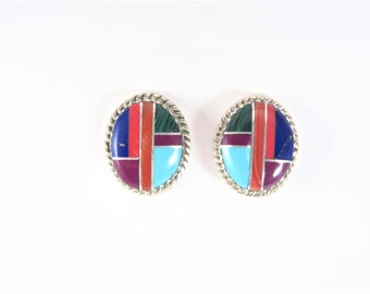Vintage Native American Sterling Inlaid Earrings Signed FY