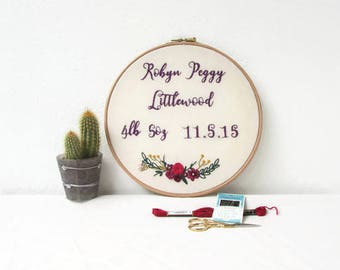 Hand embroidery nursery wall art, baby name, date and weight, new baby gift, Christening gift, embroidery hoop art, handmade in the UK