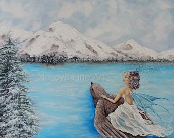 Original fairy winter ice princess lake painting on canvas, fairy on flying bird fantasy wall art print painting by Nancy Quiaoit