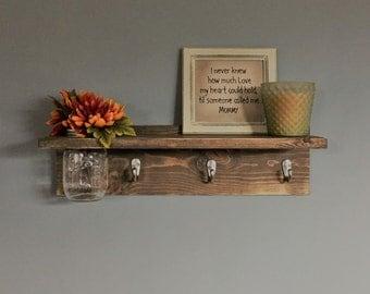 Key holder, Key hook with Shelf, coat hook, Gift, vase, Wall decor, coat hanger, key hook, wall key holder, spring, rustic, for her