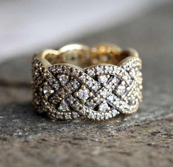 Braided wedding ring infinity diamond ring diamond wedding for Woven wedding ring