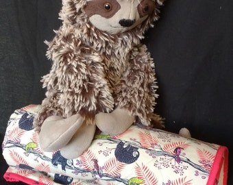 GIFT SET: Sloth stuffed animal and red quilted sloth blanket, gift set, newborn gift set, baby shower gift, gender neutral quilt
