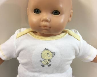 "15 inch Bitty Baby Clothes, TOP Only, Cute Baby ""Yellow DUCK"", 15 inch AG American Doll Bitty Baby or Twin, 16"" Cpk, Top Only- 4.00 Dollars"