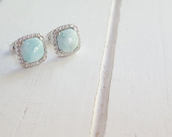 Square Larimar Earrings with cz Halo 925 Sterling Silver  - Dominican Larimar - Calming Stone