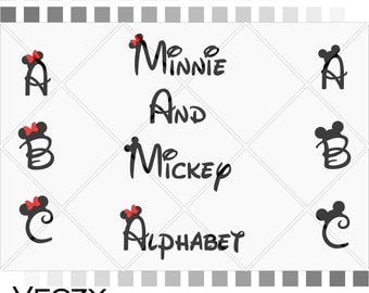 Mickey and minnie mouse font, Walt Disney Font Alphabet, svg files, disney font, walt disney, svg files for cricut, disney Monogram, SF00005