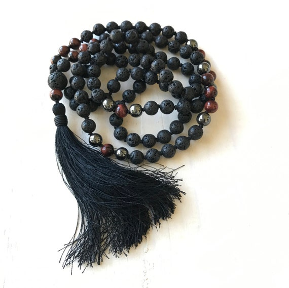 Men's Root Chakra Mala, Calm Emotions Mala, Black Lava And Red Tiger Eye Mala Necklace, Unixes Mala Beads, Mala For Grounding And Balancing