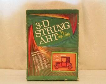 String Art Kit, Old Ford, Vintage String Art, Antique Car, 3D String Art, Ship Shop Kit, Mid Century String Art, Antique Ford, Started Kit