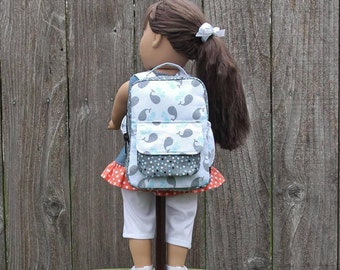 White Gray Whale Backpack for 18 17 16 15 inch Doll American Made Doll Accessories Girls Kids Doll Clothes Boys Doll Clothes Baby Doll