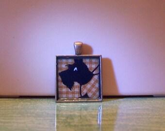 Vintage Art Deco plaid playing card Scottie dog Scottish terrier bezel necklace pendant jewelry keychain
