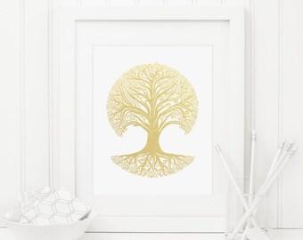 Tree Printable Gold Foil Tree Tree Silhouette Tree Roots Modern Tree Print Tree Wall Art Woodland Decor Gold Nursery Decor Tree Of Life