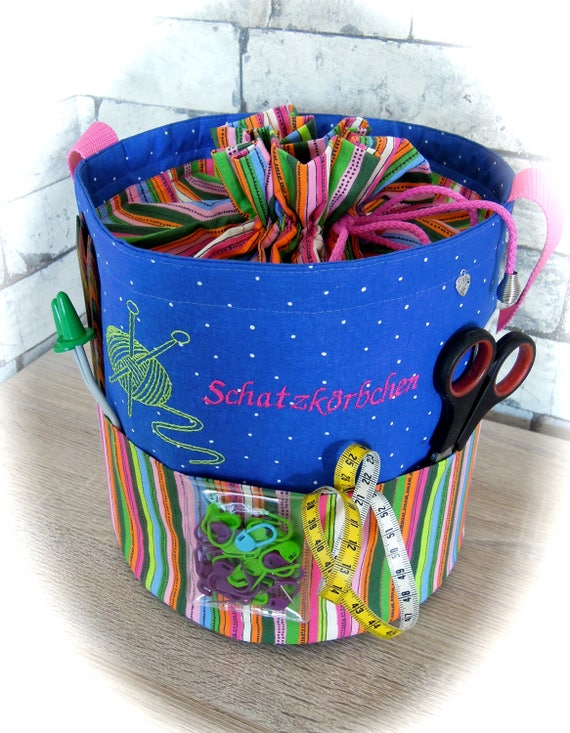 Knitting bag, handmade bag, handmade basket, knitting basket