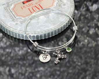 Frog Bracelet, personalized frog jewelry, frog charm bracelet gift, frog bangle bracelet with charms, frog gift, birthstone charm