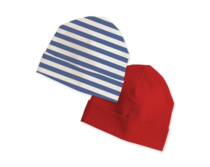 Baby 4th of July Hats, Red Baby Beanie, Blue Stripe Baby Beanie, Baby Hats Boys, Red Baby Hats Blue Stripes, Baby Caps 4th of July, Tesababe