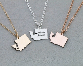 Washington State Necklace Washington Gift • State Charm Small State Rose Gold State Custom Location College Gift Back to School Jewelry