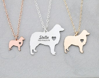 SALE • Aussie Dog Necklace • Personalized Pet Name • Custom Pet Memorial • Australian Shepherd Dog Pendant • Dog Breed • Silver Pet Charm