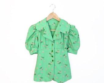 Vintage 70s Mint Green Floral Neo-Victorian Hippie Blouse, Size XS