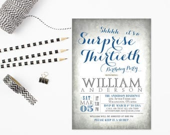ANY AGE // Surprise 60th Birthday Invitations, Surprise Birthday Invitations, Surprise Party Invitation Gray Blue Printable No.232BDAY