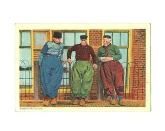 Volendam Postcard, Dutch Fishermen Folk Costume, Collection Emna Serie 380 - 399, Holland Netherlands Color Card