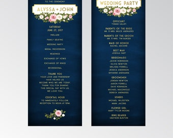 The FRANKIE . Program Cards Wedding Ceremony Cards . Gold & Navy Chalkboard White Blush Pink Rose Green Garland . 4 x 11 in Printed Card