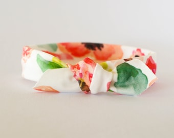 Floral Top Knot, Baby Floral Headband, Baby Headband, Baby Headband Knot, Organic Cotton Headband, Baby Top Knot, Newborn Headband