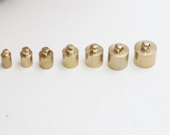 12 Pcs 4,5,6,7,8,9,10mm Raw Brass End Cap , Solid Brass End Cap , Cord End , Tube End Cap , NED , YNS