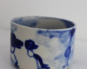 Hand made, Ceramic pot, Hand painted illustration, Matt Stoneware glaze