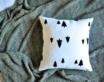 Scandinavian Cushion Cover, Throw Pillow Cover, Throw Cushion, Decorative Cushion Cover, Decorative Pillow Cover - Black & White Pine Trees