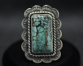 Unique and Complex Hubei Turquoise Ring US Size 7