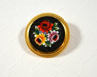 Vintage Italian Micro Mosiac Flower Pin Brooch Glass Micro Tiles Goldtone Accents Signed ITALY Micro Mosiac Jewelry Gift For Mom