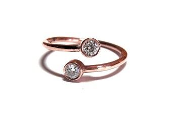 Dual Stone Ring,Gold Ring,Diamond Ring,Rose Gold Ring,925K Silver Zirconia Ring