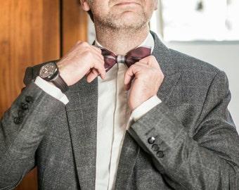 Men's Plaid Bowtie, Plum Bow Tie, Anniversary Gift for Men, Dark Purple and Grey Bowtie, Butterfly Bow Tie, Wedding Bow Tie, Groomsmen