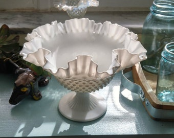 Vintage Fenton Hobnail Milk Glass Pedestal Dish/Compote!