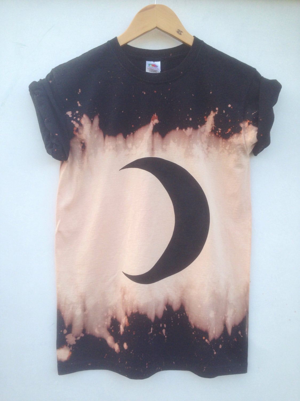 Black t shirt grunge - Black Moon Phases Dark Grunge Bleached Acid Wash Shirt Crescent Moon Emo Hipster Festival Tumblr