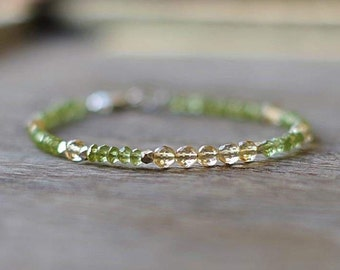 Peridot and Citrine Bracelet with Sterling Silver