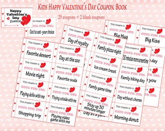 Kids Valentine's Day coupon book for kids. 31 coupons. Children's Valentine gift. Instant printable. PDF. DIY  Kids Valentine's Day gift.