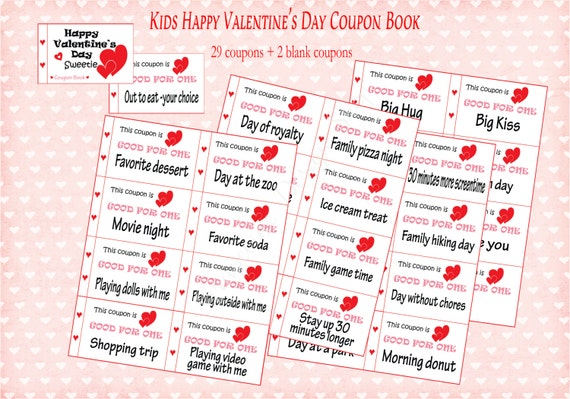 kids valentines day coupon book for kids 31 coupons childrens valentine gift instant printable pdf diy kids valentines day gift - Valentines Day Coupon Book