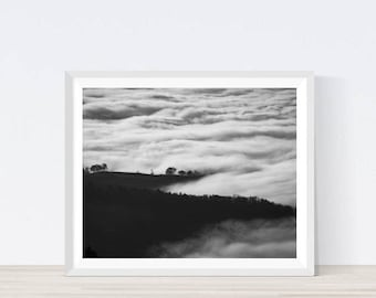 black and white landscape, black and white photo, clouds print, clouds wall decor, clouds art, tree print, tree photo, tree wall art, #NBW1