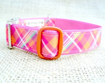 "Orange and Pink Plaid Dog Collar~ 1"" or 1.5"" Wide with Metal Side Release Buckle"